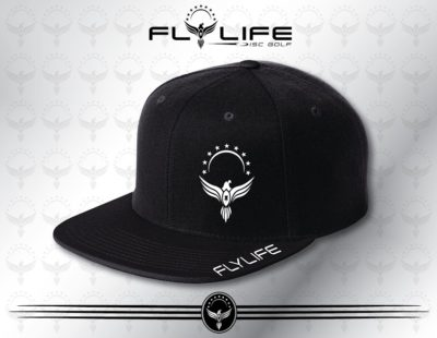 Flattbill Black Hat White Print