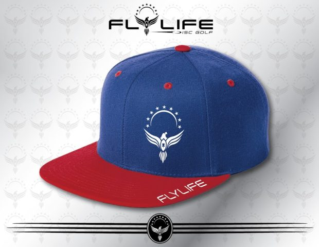 Flattbill Red and Blue Hat White Print