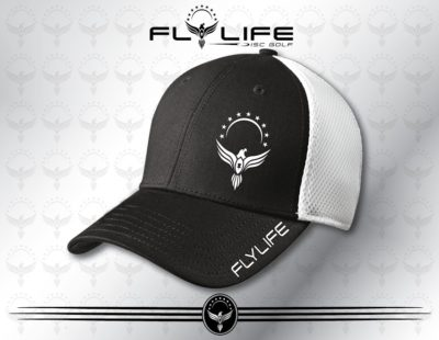 Flexfit White and Black Hat White Print