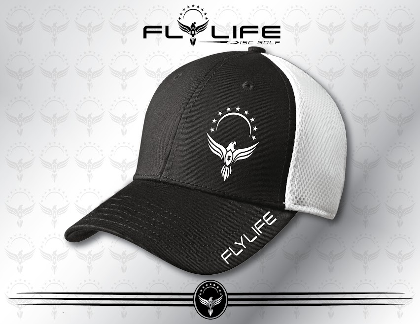 dc20b4010d0 Fly Life Bird - Black White Flexfit Hat - Fly Life Disc Golf