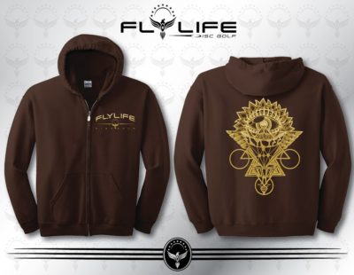 Mens Choclate Full Zip Gold Print Hoodie