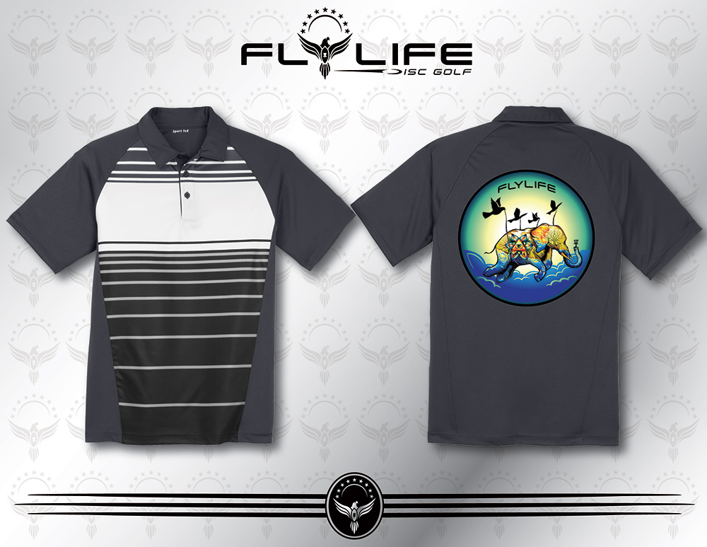 a0ebc8a7947 Fly Life Elephant - Grey Black Polo Tee